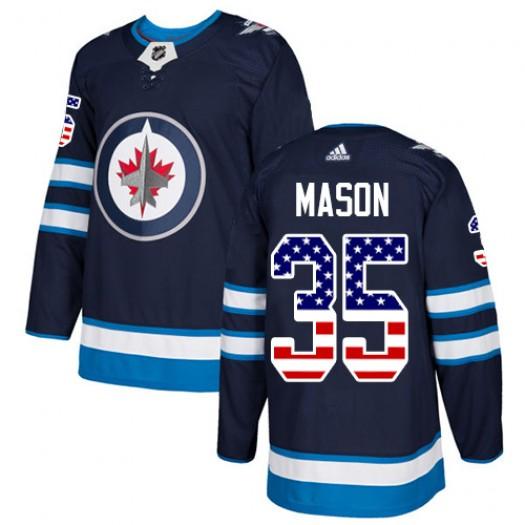 Steve Mason Winnipeg Jets Men's Adidas Authentic Navy Blue USA Flag Fashion Jersey