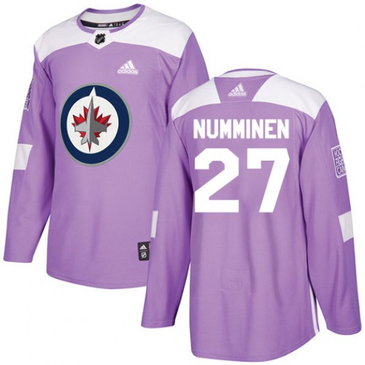 Teppo Numminen Winnipeg Jets Men's Adidas Authentic Purple Fights Cancer Practice Jersey
