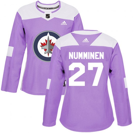 Teppo Numminen Winnipeg Jets Women's Adidas Authentic Purple Fights Cancer Practice Jersey