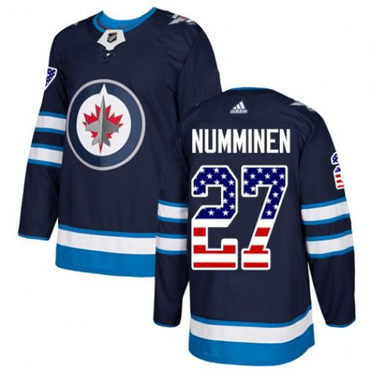 Teppo Numminen Winnipeg Jets Men's Adidas Authentic Navy Blue USA Flag Fashion Jersey