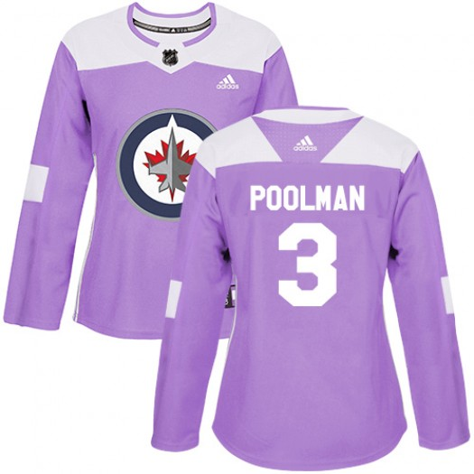 Tucker Poolman Winnipeg Jets Women's Adidas Authentic Purple Fights Cancer Practice Jersey