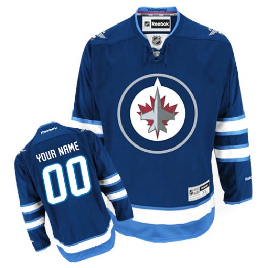 Youth Reebok Winnipeg Jets Customized Premier Navy Blue Home Jersey